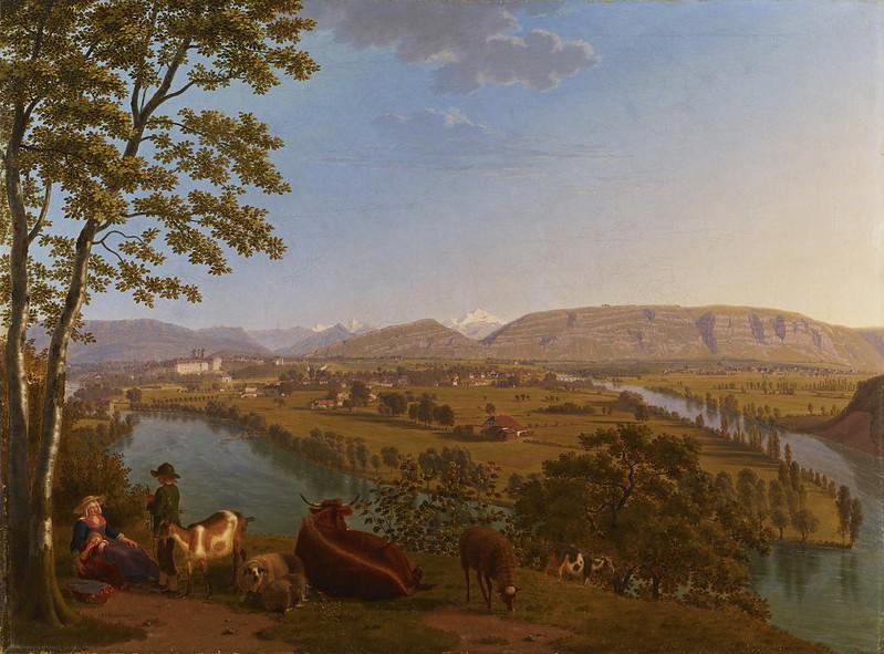Johann Jakob Biedermann - Genève, confluence du Rhône et de l'Arve (1817)