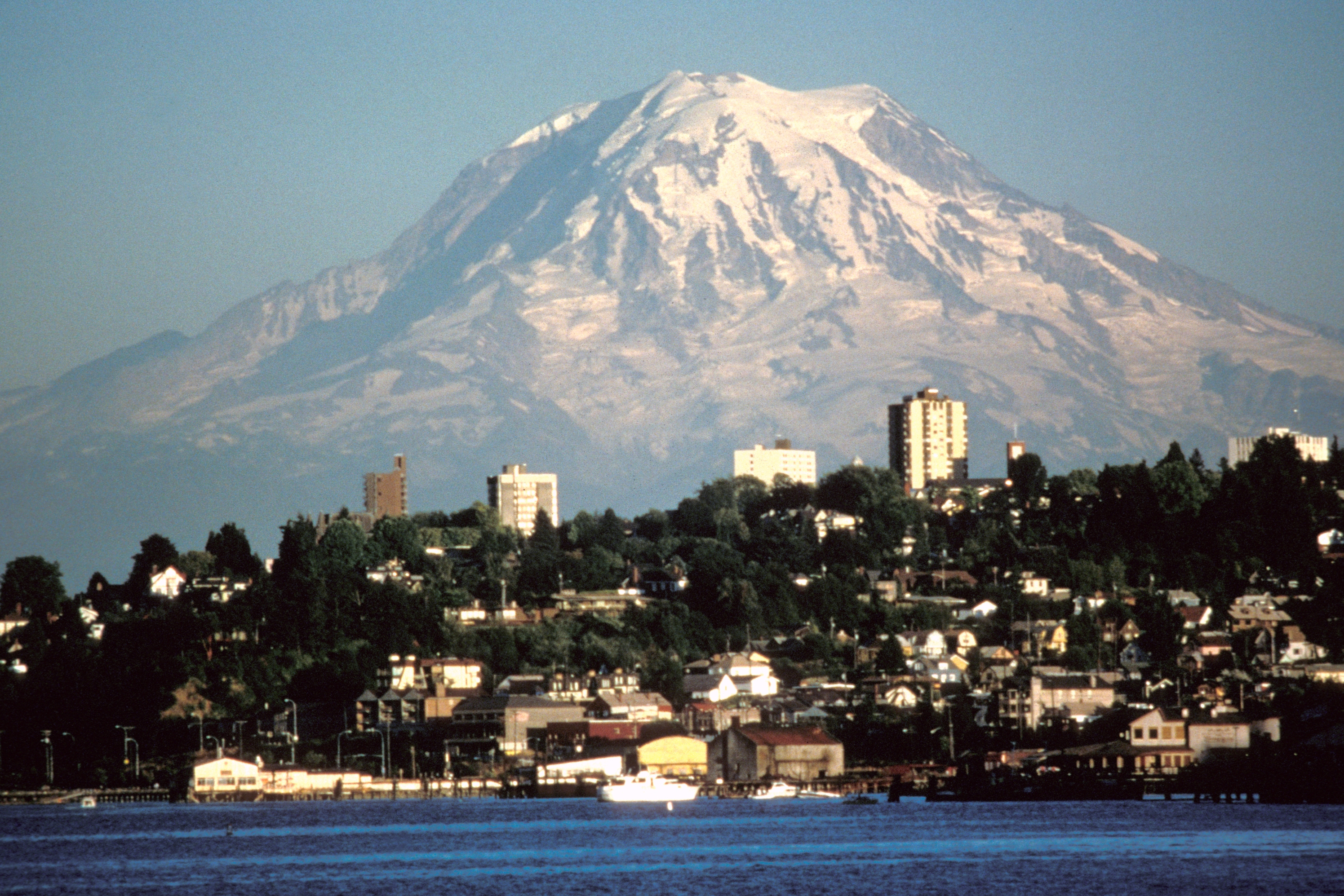 Viewed from the northwest (Tacoma), Liberty Cap is the apparent summit with Mowich Face below. Photo taken on August 20, 1984.