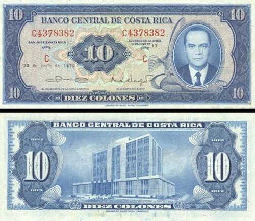 10 Colones Kostarika 1970, P230b