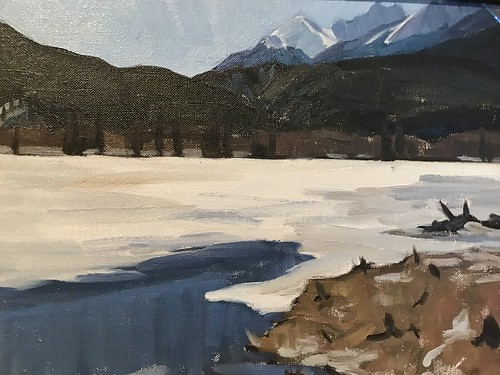 Banff oil on Canvas by Catharine Robb Whyte of Beaver Lodge, Vermillion Lake. From History Comes Alive in Banff National Park