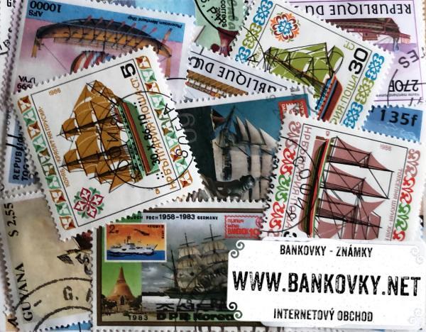 Známky plachetnice balíček 50 ks rôznych
