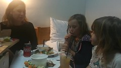 Leah eating like an animal in hospital with Andrea and Hannah