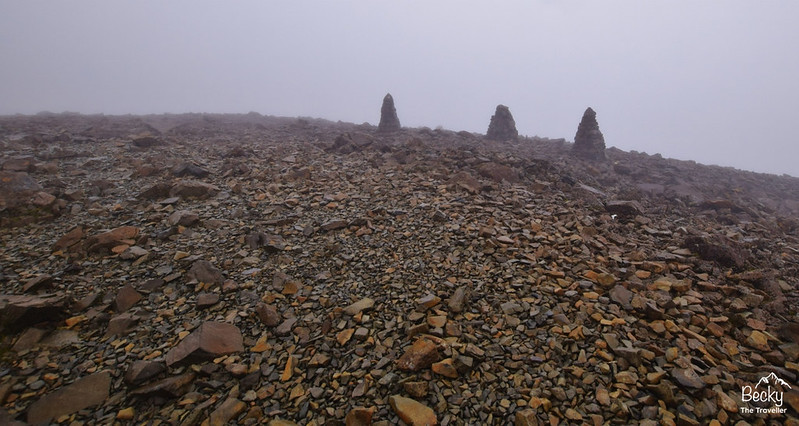 Ben Nevis walk - carins near the summit