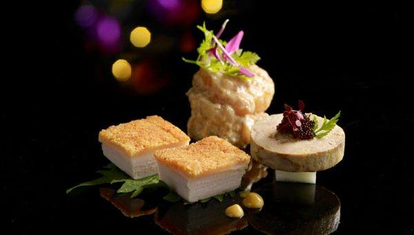 MITZO Prawn in creamy bonito sauce Roasted crispy pork belly Soya poached foie gras preview