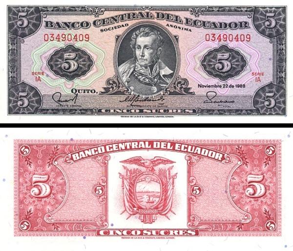 5 Sucres Ekvádor 1988