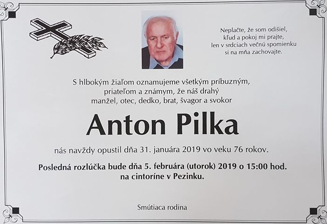 Zomrel Anton Pilka (31/1/2019)
