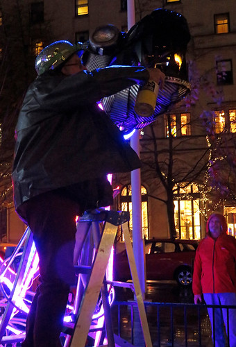 Setting a dragon on fire Lumière sites, an annual winter event inspired by lighting up the long winter nights of Downtown Vancouver
