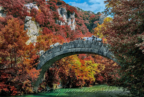 Autumnal colors at Klidonia's stone bridge