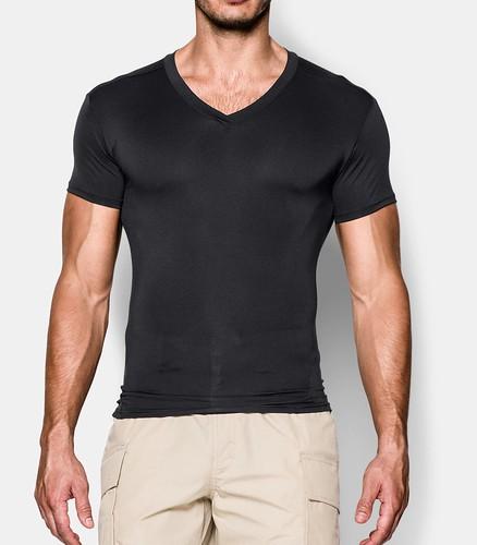 cuello v hombre camiseta negra