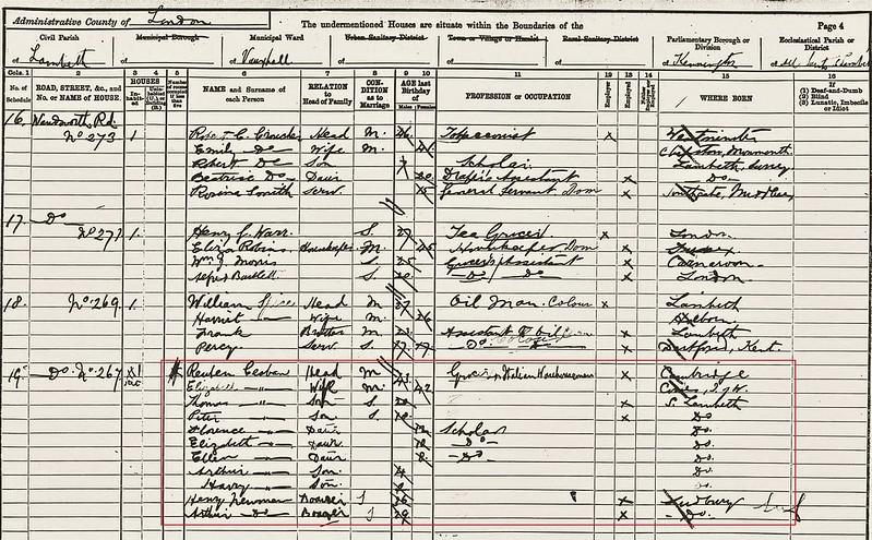 Casbon Reuben b1848 1891 census Lambeth (1)
