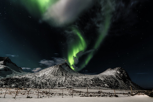 Northern lights above frozen land f