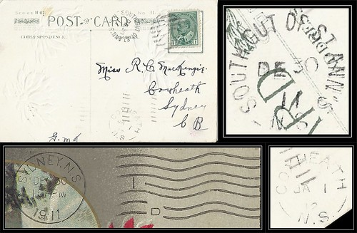 Nova Scotia / Cape Breton Postal History - 30 December 1911 - SOUTH GUT OF ST ANN'S (Victoria County), N.S. via Sydney (Cape Breton County), N.S. to COXHEATH (Cape Breton County), N.S. (split ring / broken circle cancel / postmark)