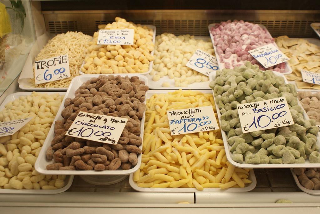 Pâtes fraîches du Mercato orientale à Gènes.