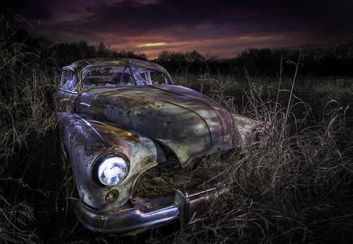 abandoned abandonedcars junkcars paintingwithlight nightphotography sunset texas ruraltexas
