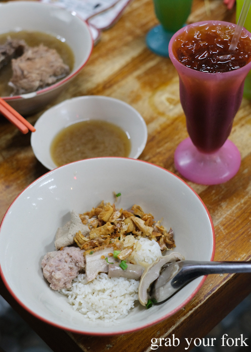 Dry boiled rice with pork and soup at Go-Benz in Phuket Thailand