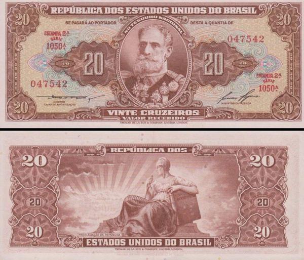 20 cruzeiros Brazília 1955-61, P160b