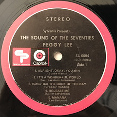 PEGGY LEE:SYLVANIA PRESENTS... THE SOUNDS OF THE SEVENTIES(LABEL SIDE-A)