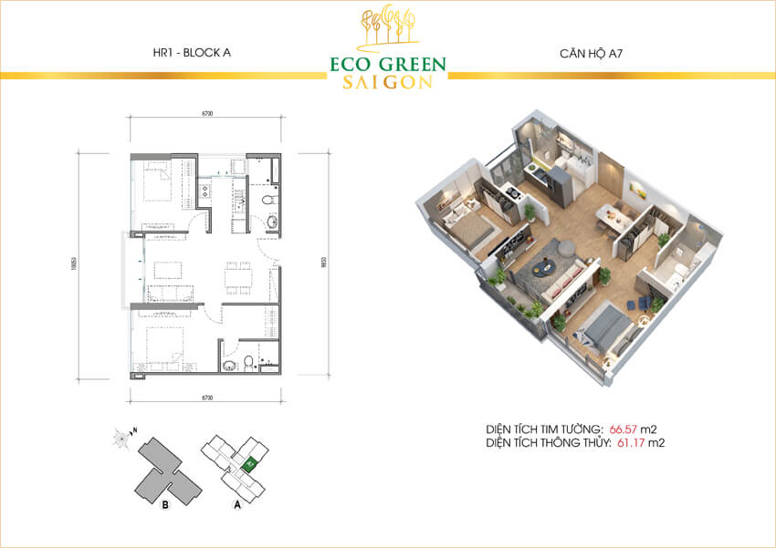 Căn hộ A7 dự án can8 hộ Eco-Green Sài Gòn quận 7.