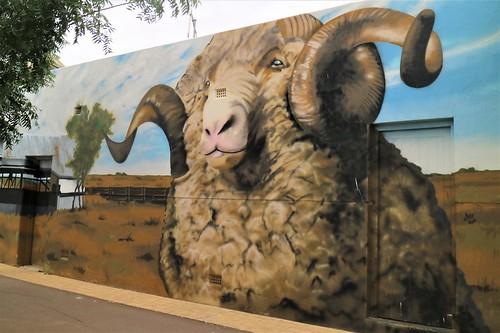 Merino Ram mural, Tuppal Hotel, Finley, NSW