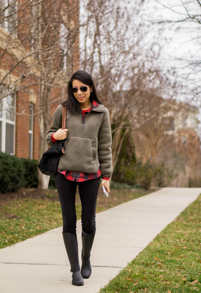 Madewell polartec fleece popover jacket in highland green, red buffalo check shirt and thermal top, black skinny jeans, Longchamp large Le Pliage, Banana Republic buckle strap rainboot