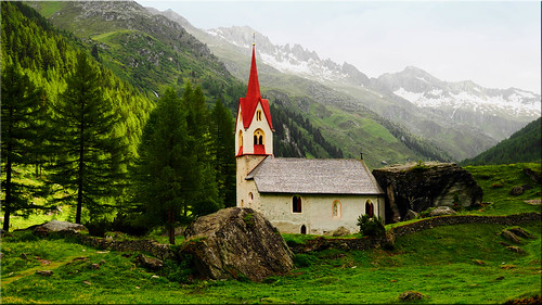 The Heiliggeistkirchlein in the valley of the Ahr in South Tyrol