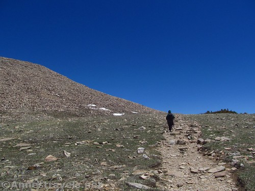 Hiking up the tundra-like meadows on Bald Mountain in the High Uintas of Utah