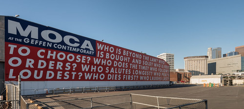 Barbara Kruger, Untitled (Questions) (1990). Photo: Elon Schoenholz, courtesy of MOCA.