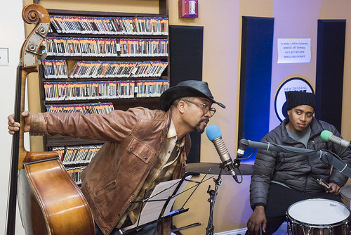 Roland Guerin and Jamison Ross at WWOZ's 38th birthday - 12.4.18. Photo by Ryan Hodgson-Rigsbee rhrphoto.com.