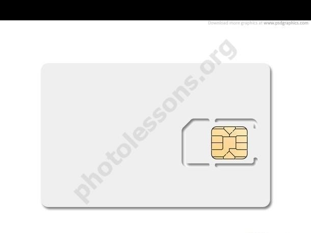 Download for Photoshop source .PSD – white SIM card