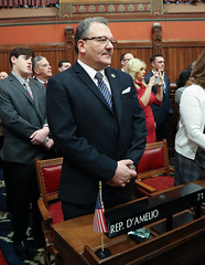 Rep. Tony D'Amelio stands during opening day ceremonies of the 2019 General Assembly.