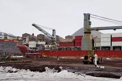 MV Ocean Giant  sits along the ice-pier at McMurdo Station, Jan. 31. (U.S. Navy photo)