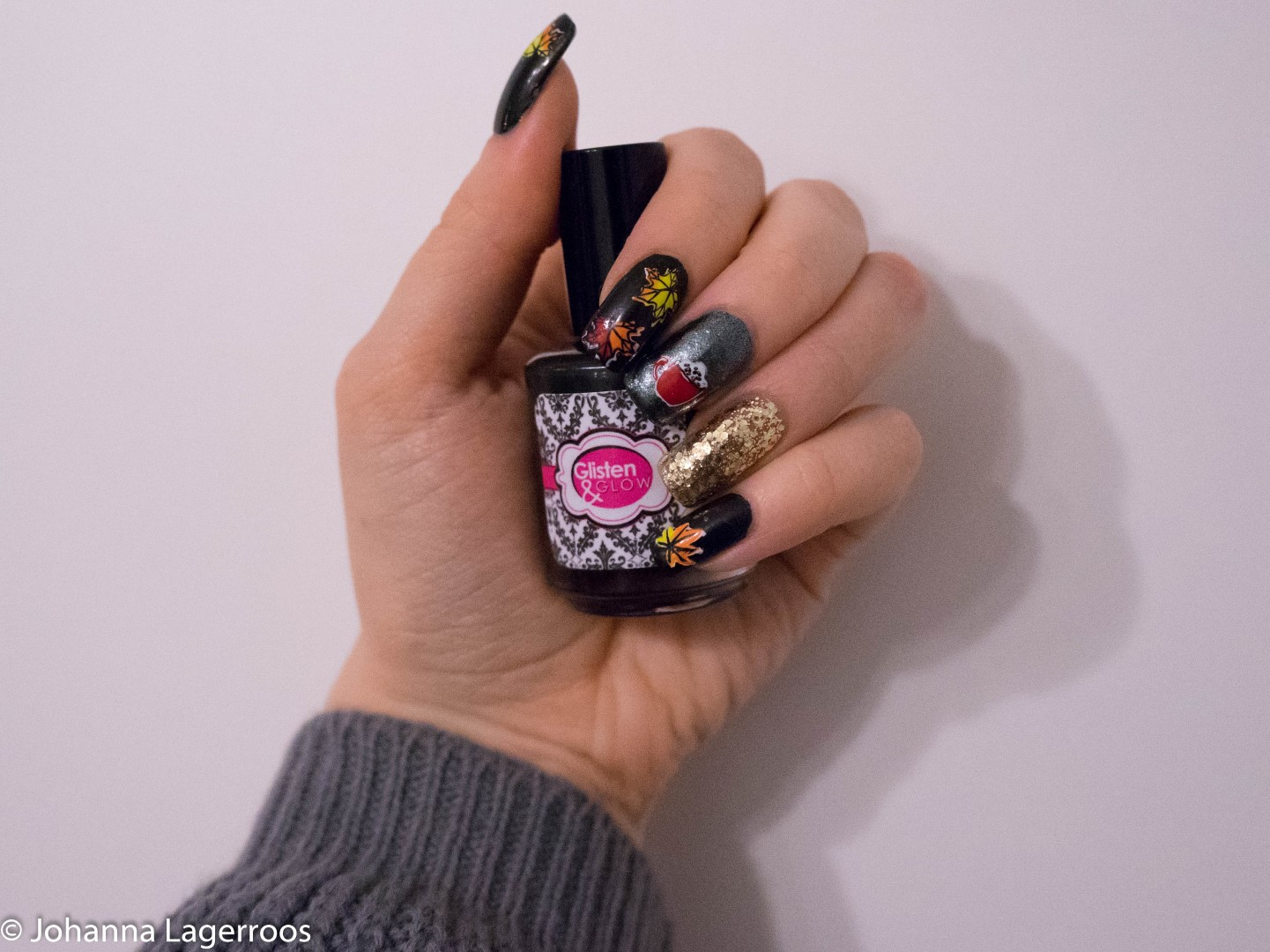 stamped autumn nails