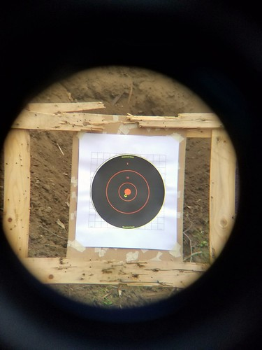 Bore sighted the new scope at 50 yards. This is the first shot out of my new CZ 527 American off bags at 50 yards.  Think I'll keep it.
