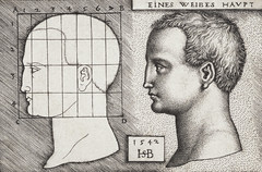 Vintage illustration of profile study of woman's head published in 1542 by Hans Sebald Beham (1500-1550). Original from New York public library. Digitally enhanced by rawpixel.