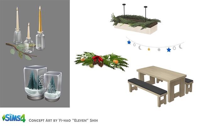 Artes Conceituais da Atualização de Natal do The Sims 4