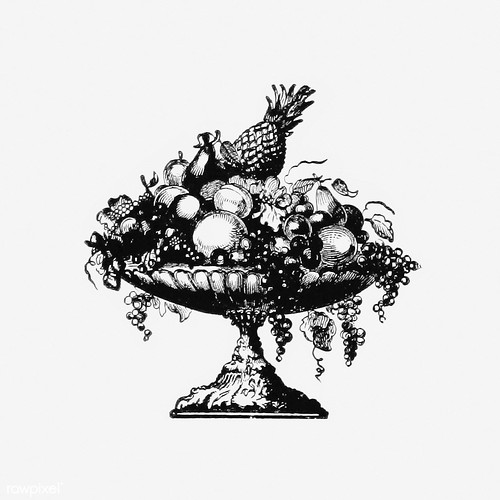 Vintage fruit tray illustration