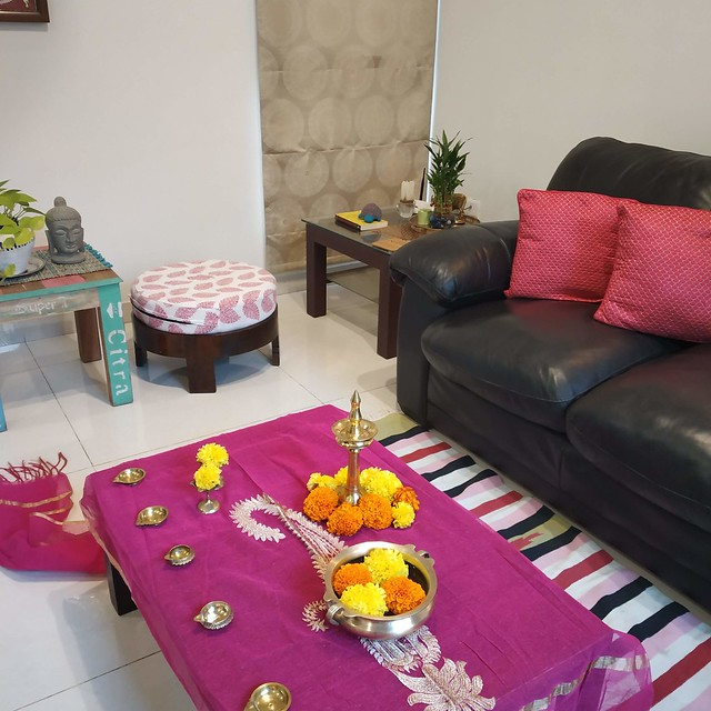 Brass diwali decor with marigold flowers