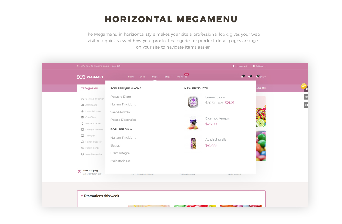 vertical and horizontal mege menu