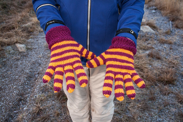 Stripey gloves
