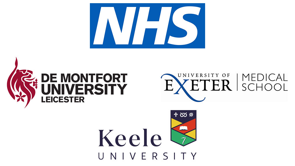 partner logos for NHS, de Montfort university, Keele University, Exeter University