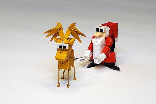 Origami Reno and Origami Papá Noel/ Origami Reindeer and Origami Santa Claus (Carlos González Santamaría AKA Halle)
