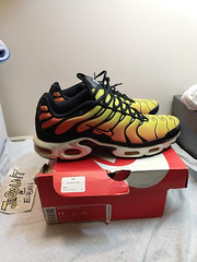 "2014 Nike Air Max Plus TXT TN ""Sunset"" SIZE 11 TOUR YELLOW/TTL ORNG- 647315 700"