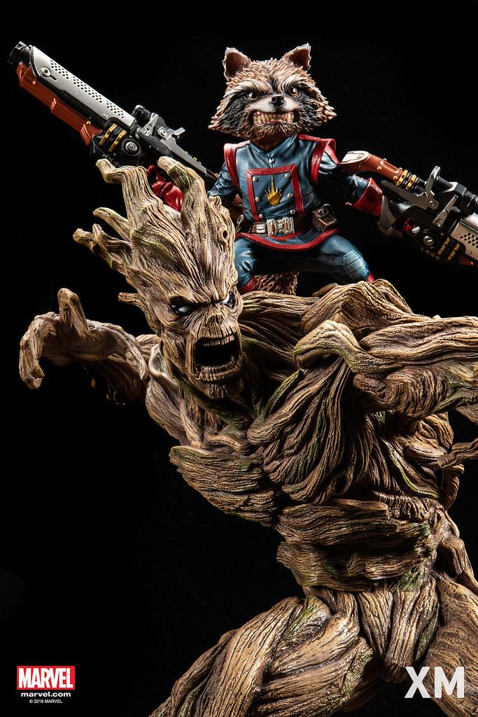 火箭雖然一臉兇樣,但還是可愛到不行~ XM Studios Premium Collectibles 系列 Marvel【火箭&格魯特】Rocket and Groot 1/4 比例全身雕像作品