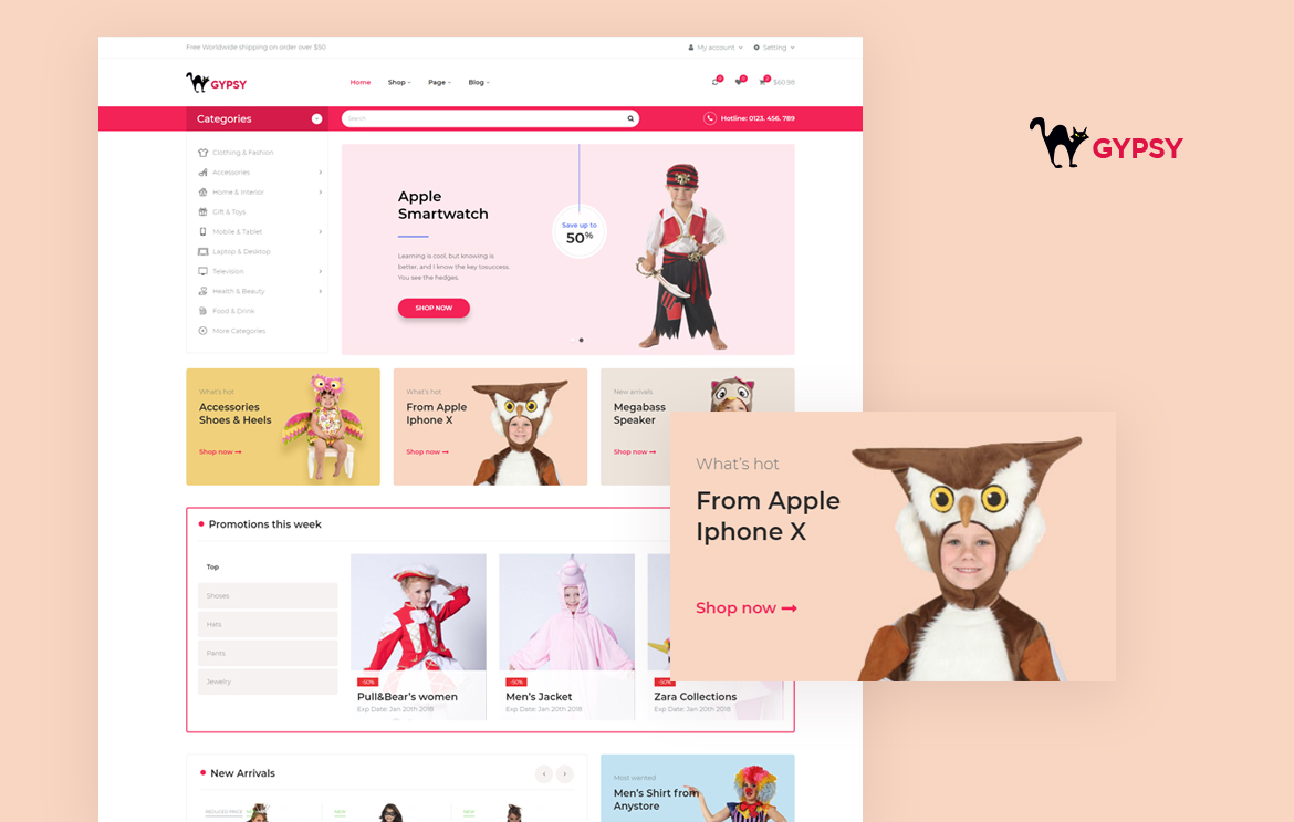 Bos Gypsy Free Prestashop Theme Responsive for Baby Clothing, Halloween Costume