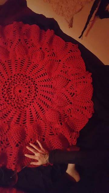Red crochet project... progress...moving patiently forward...