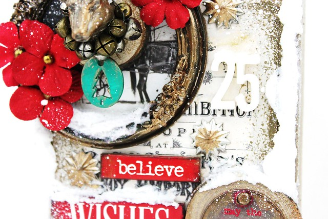 Meihsia Liu Simply Paper Crafts Mixed Media Canvas Warm Winter Wish Simon Says Stamp Tim Holtz Prima Flowers 4