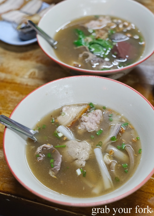 Rice noodle rolls and pork organ soup at Go-Benz in Phuket Thailand