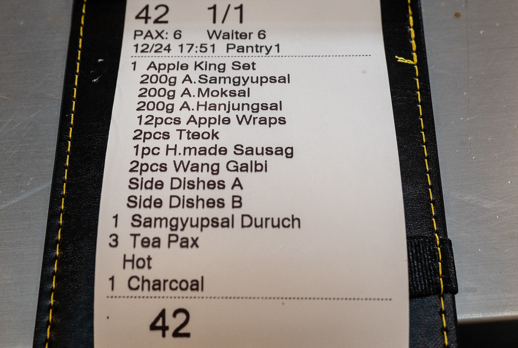 Our order at Apple Samgyupsal Korean Barbeque Restaurant, Jaya One.