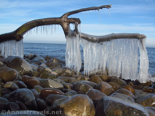 Another example of icicles by Lake Ontario at Chimney Bluffs State Park, New York