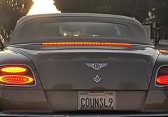 COUNSL9 license plate on Bentley with Masonic seal and Loyala Law School frame, Burbank, California, USA